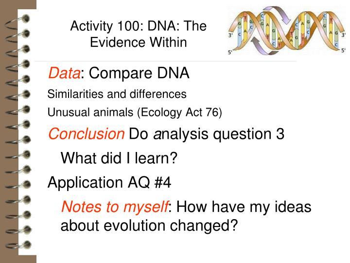 Activity 100: DNA: The Evidence Within