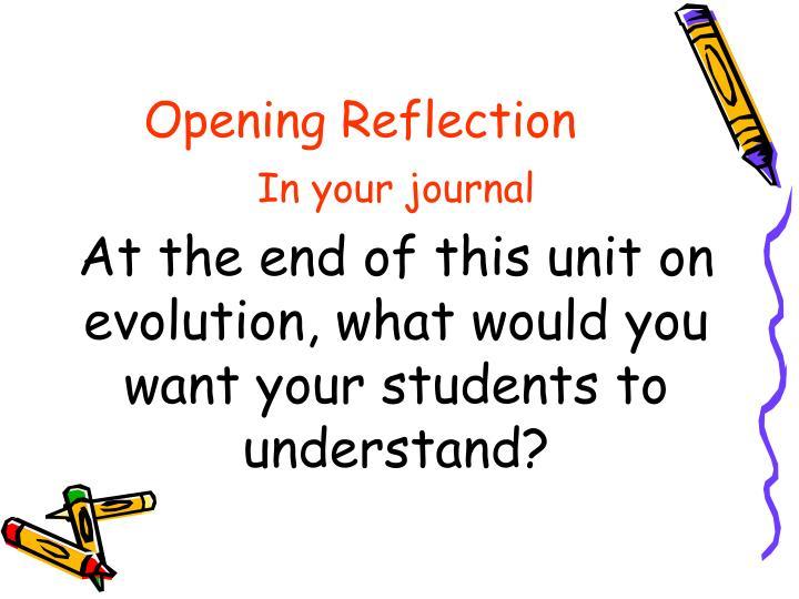 Opening Reflection