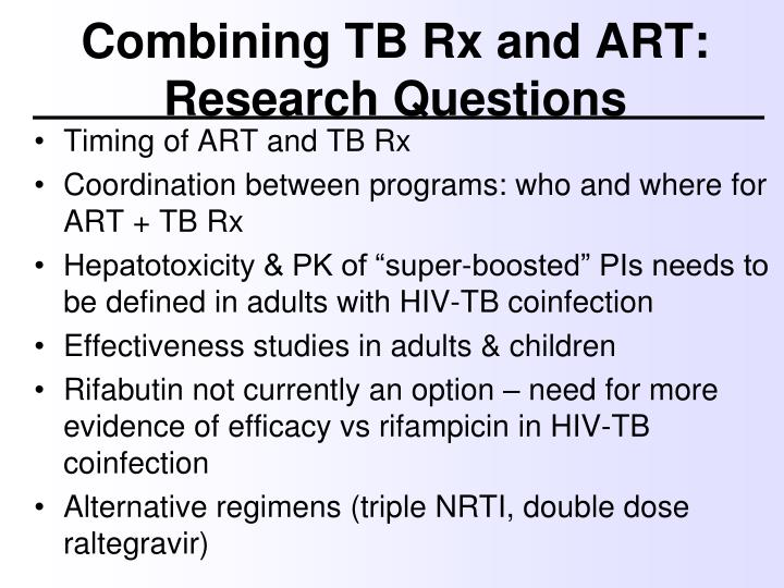Combining TB Rx and ART: Research Questions