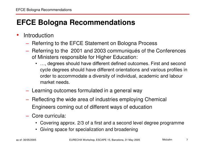 EFCE Bologna Recommendations