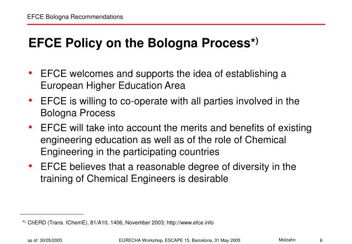 EFCE Policy on the Bologna Process*