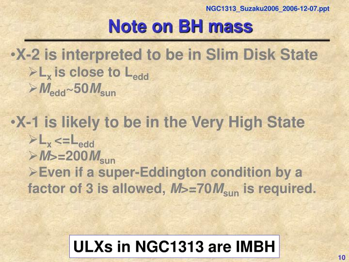 Note on BH mass