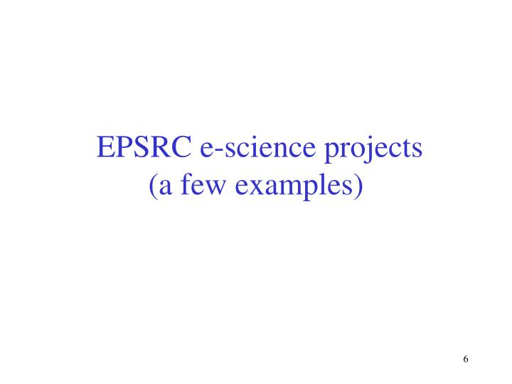 EPSRC e-science projects