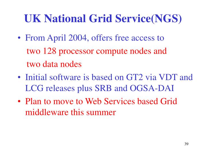 UK National Grid Service(NGS)