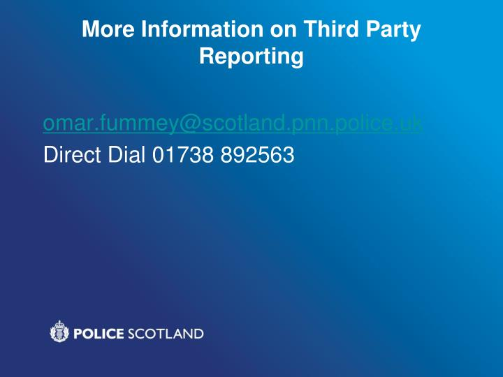More Information on Third Party Reporting