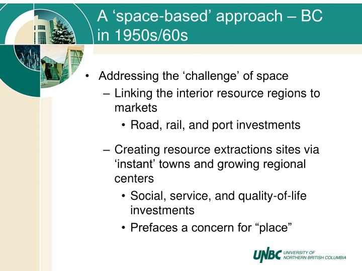 A 'space-based' approach – BC in 1950s/60s