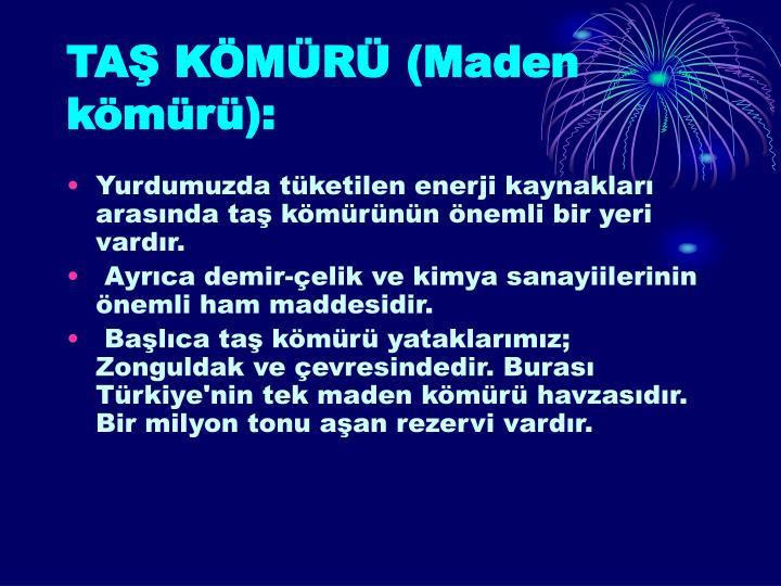TAŞ KÖMÜRÜ (Maden kömürü):