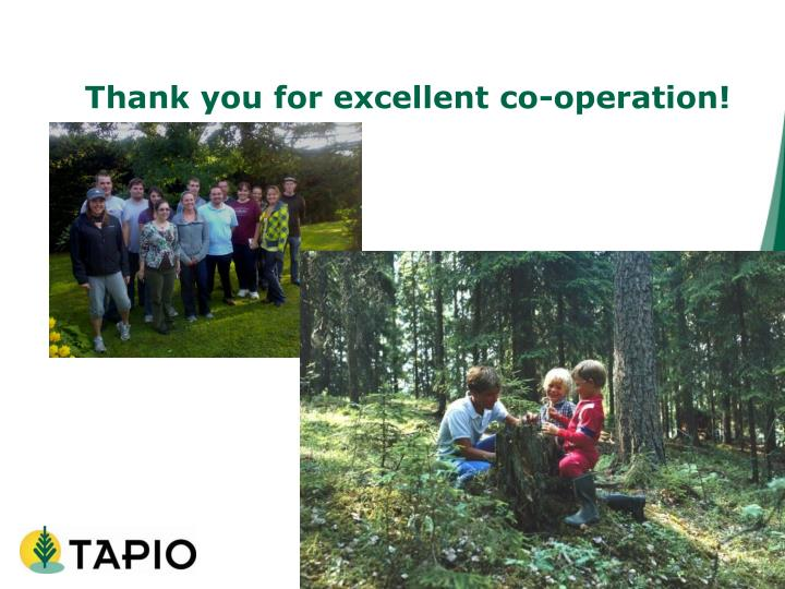 Thank you for excellent co-operation!