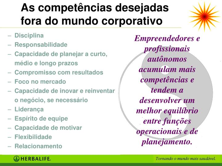 As competências desejadas fora do mundo corporativo