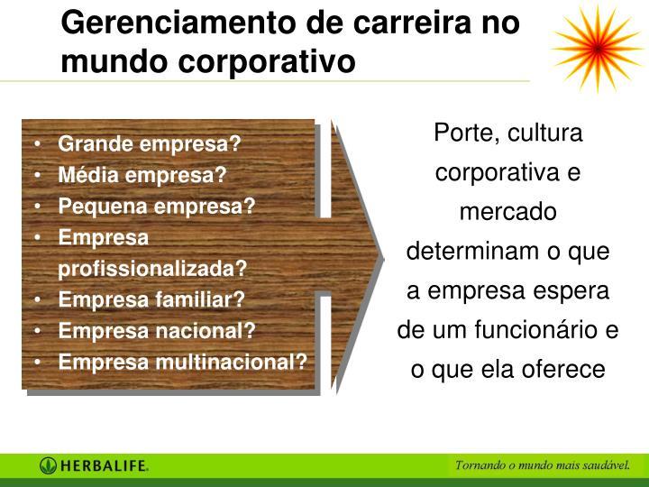 Gerenciamento de carreira no mundo corporativo