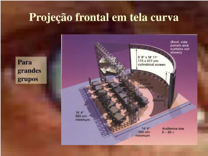 Projeção frontal em tela curva