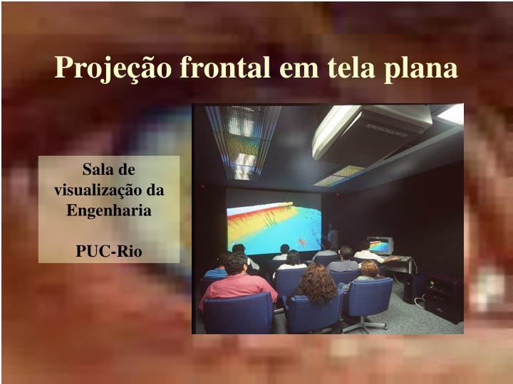 Projeção frontal em tela plana
