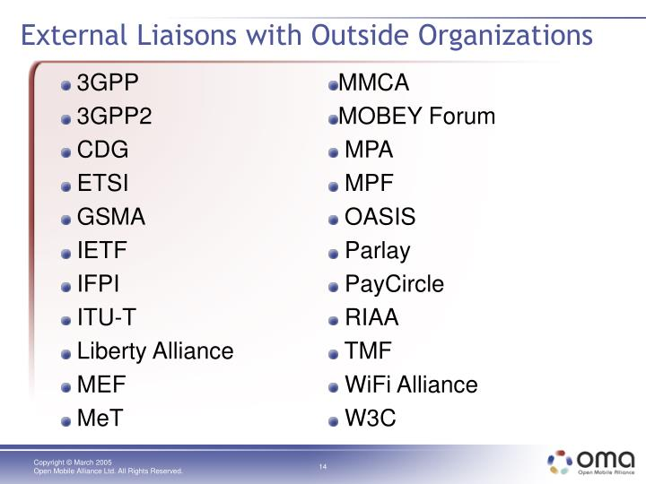 External Liaisons with Outside Organizations