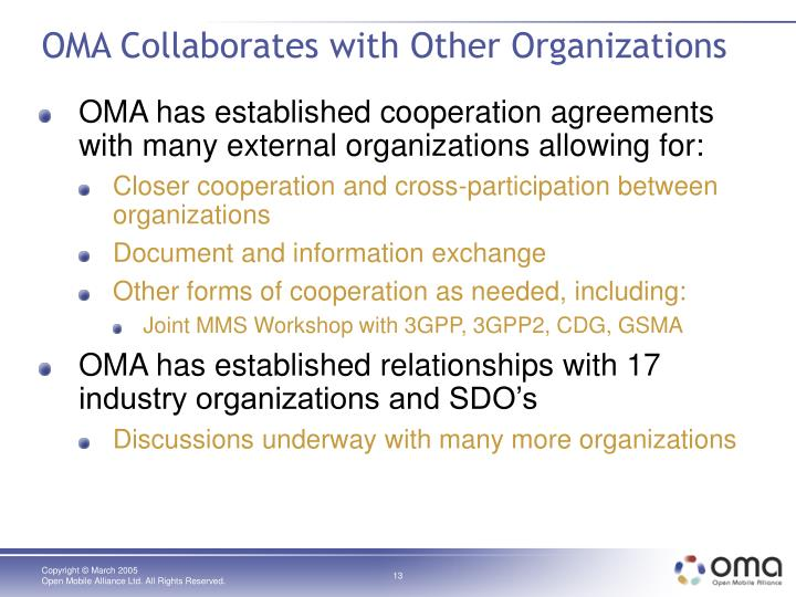 OMA Collaborates with Other Organizations