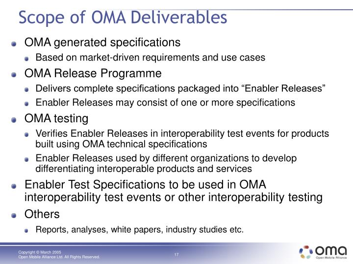 Scope of OMA Deliverables