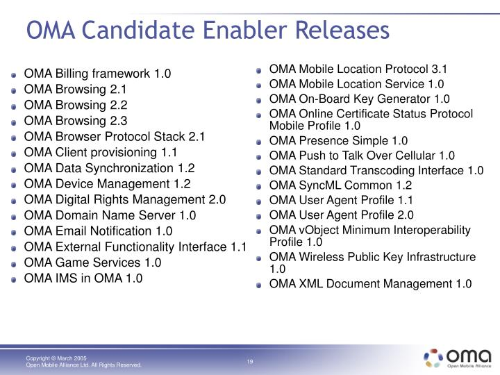OMA Candidate Enabler Releases