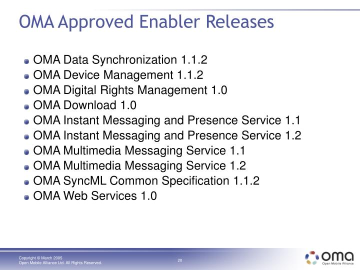 OMA Approved Enabler Releases