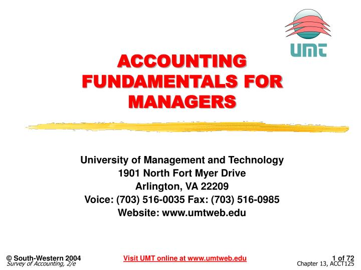 Accounting fundamentals for managers
