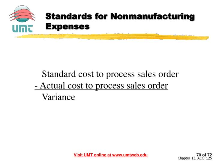 Standards for Nonmanufacturing Expenses