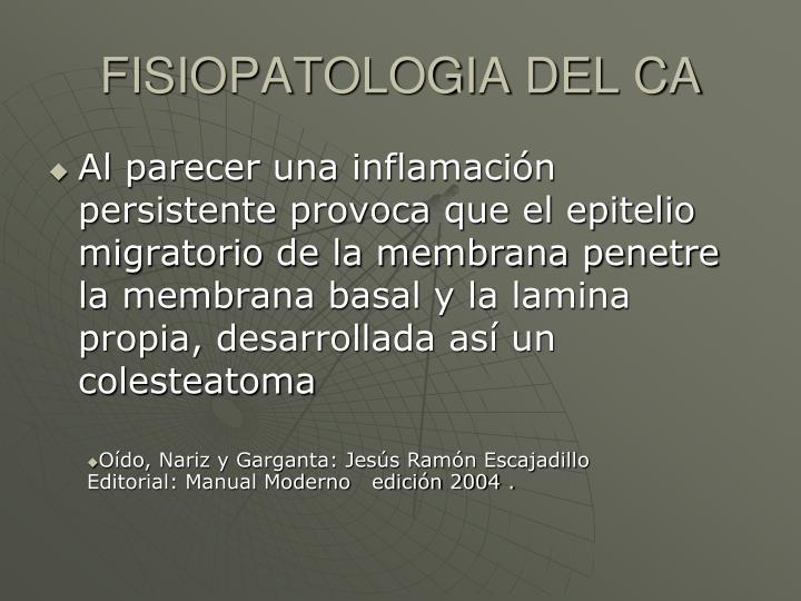 FISIOPATOLOGIA DEL CA