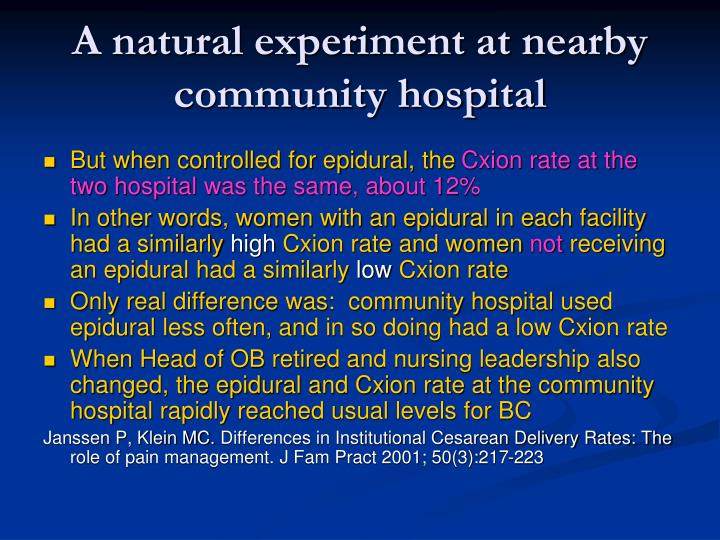 A natural experiment at nearby community hospital