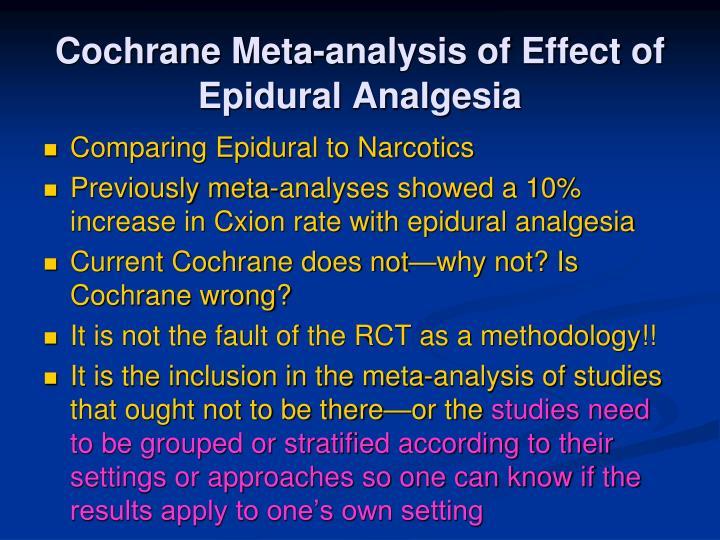 Cochrane Meta-analysis of Effect of Epidural Analgesia