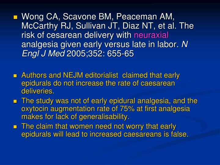 Wong CA, Scavone BM, Peaceman AM, McCarthy RJ, Sullivan JT, Diaz NT, et al. The risk of cesarean delivery with