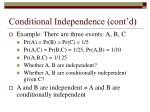 conditional independence cont d