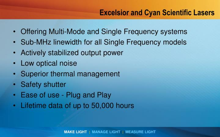 Excelsior and Cyan Scientific Lasers