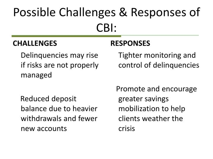 Possible Challenges & Responses of  CBI: