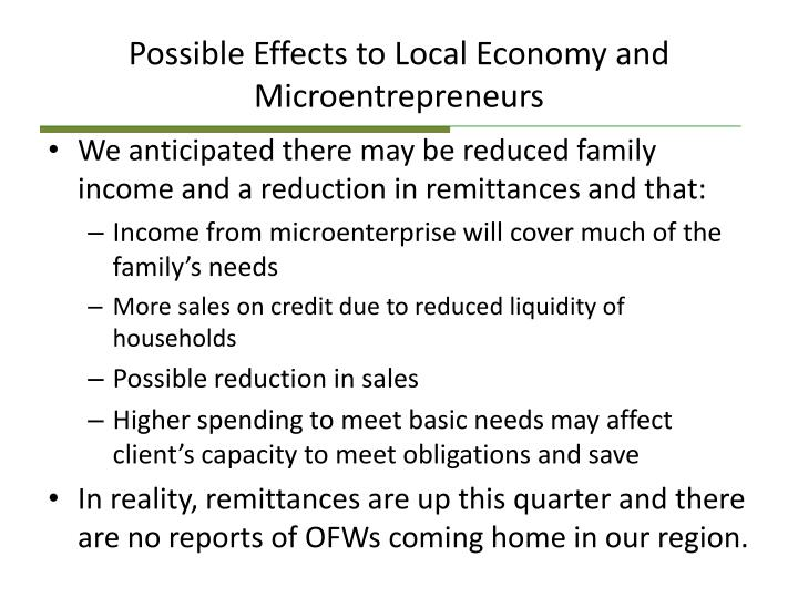 Possible Effects to Local Economy and Microentrepreneurs