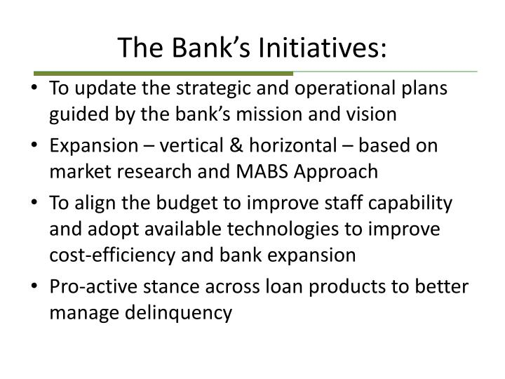 The Bank's Initiatives: