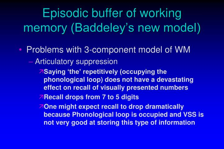 Episodic buffer of working memory (Baddeley's new model)