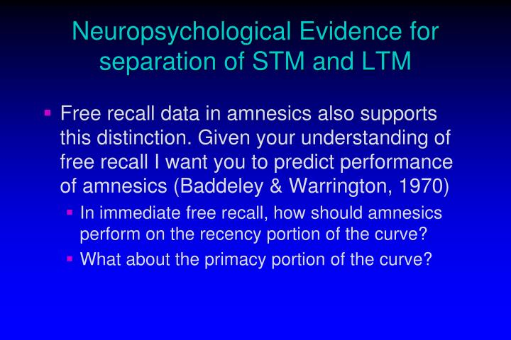 Neuropsychological Evidence for separation of STM and LTM