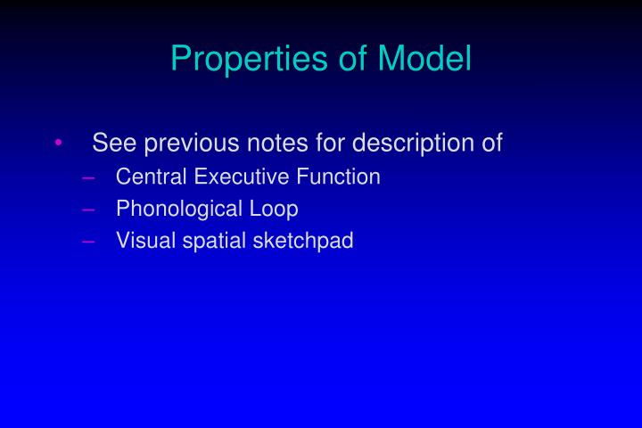 Properties of Model