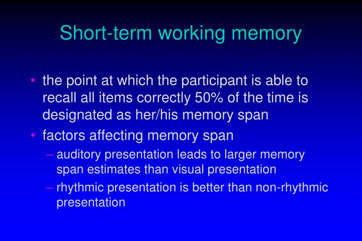 Short term working memory2