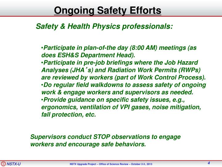 Ongoing Safety Efforts