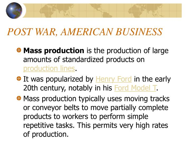POST WAR, AMERICAN BUSINESS