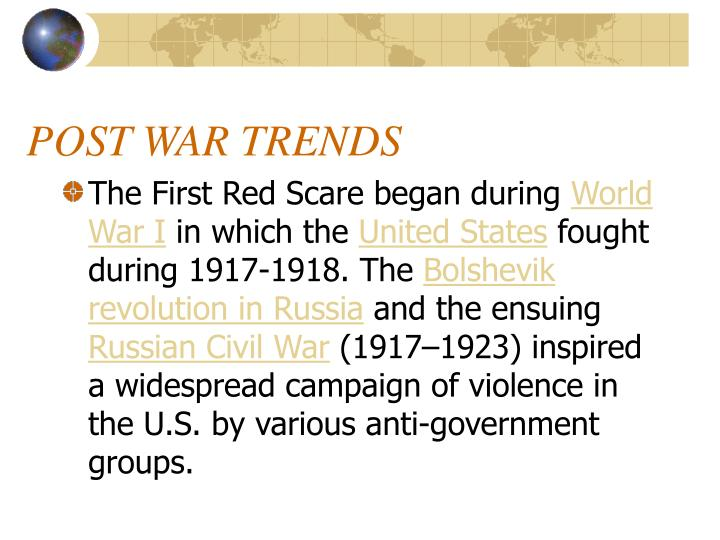 POST WAR TRENDS
