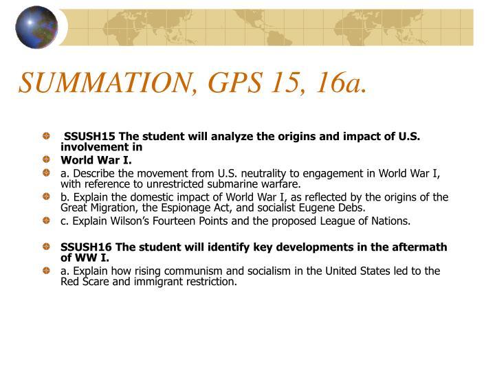 SUMMATION, GPS 15, 16a.