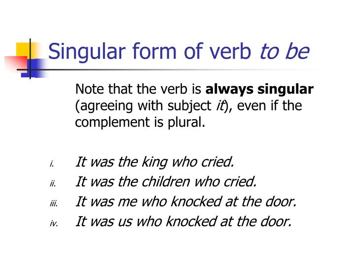 Singular form of verb to be