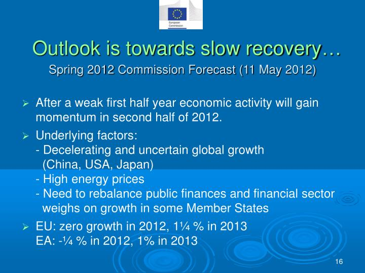 Outlook is towards slow recovery…