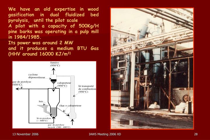 We have an old expertise in wood gasification in dual fluidized bed pyrolysis,  until the pilot scale