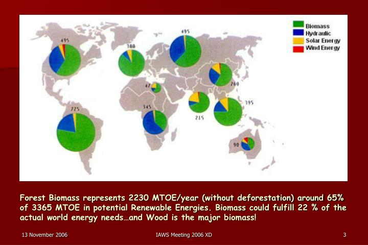 Forest Biomass represents 2230 MTOE/year (without deforestation) around 65% of 3365 MTOE in potentia...