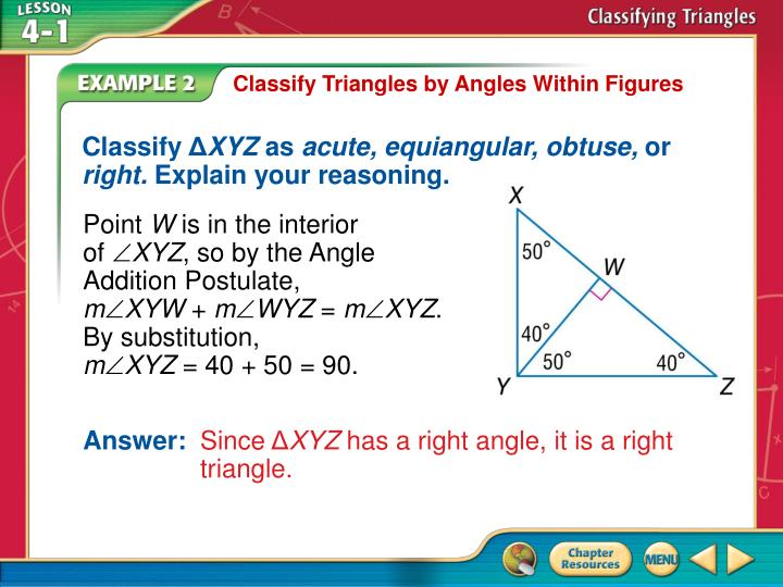 Classify Triangles by Angles Within Figures