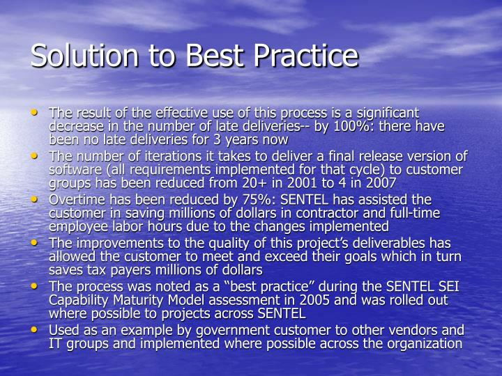 Solution to Best Practice