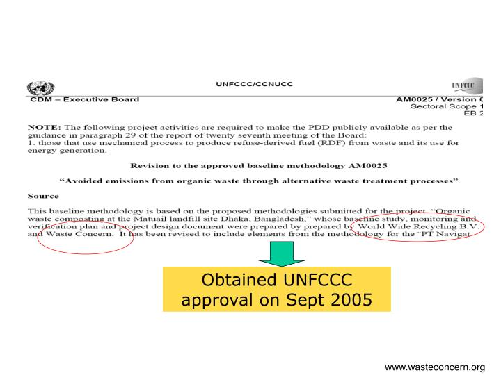 Obtained UNFCCC approval on Sept 2005