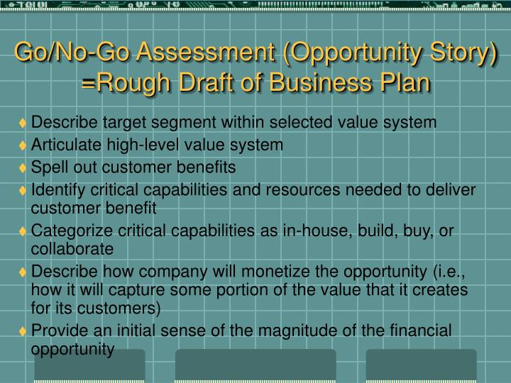 Go/No-Go Assessment (Opportunity Story) =Rough Draft of Business Plan