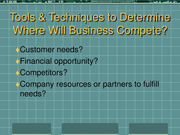 Tools & Techniques to Determine Where Will Business Compete?