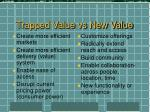 trapped value vs new value